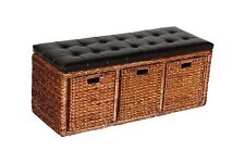 Three Baskets Storage Bench with Faux Leather Top Seat  Bulrush Weave Chair