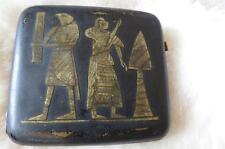 Vintage Japanese Gilt Niello Egyptian Revival Theme Cigarette Case