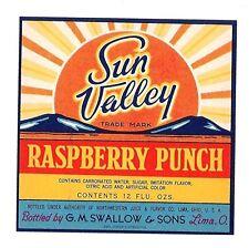 Sun Valley Raspberry Punch Soda Bottle Label Lima Ohio
