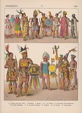 Mexiko Indianer Indios Trachten um 1500 Indianerschmuck LITHOGRAPHIE von 1882