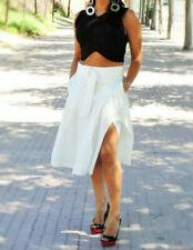 """7878b31fe NWT ZARA Off White Midi Pleated Skirt Back Zipper Size L Waist 32"""" NEW NO"""