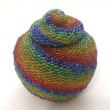 Handmade Beaded Colorful Ball Round Shape Woven Small Basket with Lid