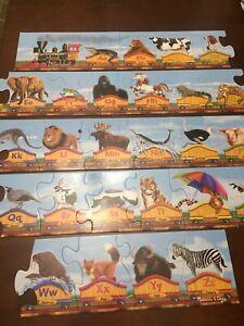 Melissa & Doug Alphabet Train Floor Puzzle with Animals Complete No Box