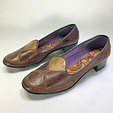Vtg 1960s Mod Brown Chunky Heels Shoes Size 5.5 Slip On Loafers For You