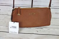 NEW Calvin Klein Small Saffiano Leather Crossbody Luggage MSRP $148