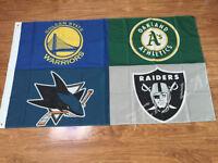 Golden State Warriors Oakland Raiders San Jose Sharks Oakland Athletics Flag