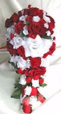 Wedding Bouquets 21 pieces package Bridal bouquet Silk flowers White Red set