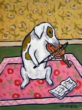jack russell terrier art violin dog painting gift pop folk 13x19 Glossy Print