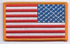 """AMERICAN FLAG EMBROIDERED PATCH  REVERSED USA UNIFORM LEFT FACING 3.5"""" wide"""