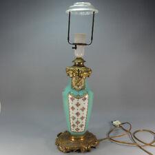 Alte Tisch Lampe - grün Blumen - Französisch? - H: ca. 50 cm