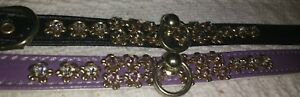 "Designer Mirage Diamant dog collar 10"" XXS ""VICTORIANA"" Black LILAC 7-8.5"" NECK."