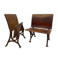 1800s Antique Schoolhouse Maple & Iron Folding Desk End Chairs