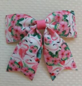 Flamingo pinkHair Bow Clip 4.5 Inch 🦩🎀 handmade ribbon