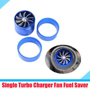 Car Supercharger Turbine Turbo Charger Fan Fuel Gas Saver with 2x Rubber Holders