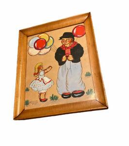 Yvonne Kehew Whimsical Swedish Folk Painting Of Girl And Clown 1930s Vibrant