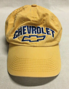 Men's CHEVROLET Hat Yellow/Blue The Game Hook & Loop Closure Cotton Embroidered