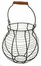 All-Purpose Round Oval Basket, Gray Iron Wire with Distressed Wood Handle, 9""
