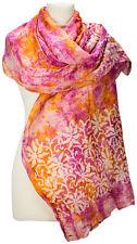 Schal Baumwolle Seide, floral batik pink orange bedruckt  summer scarf printed