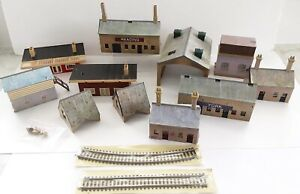 Collection of 11 Hornby Buildings OO Gauge + 2 New Tracks Job Lot - AS SEEN