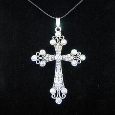 XXL Strass Kreuz Anhänger Antik Silber Lederband Gothic