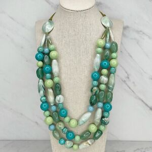 """Silver Tone Chunky Blue Green Beaded Double Strand Statement Necklace 23"""""""
