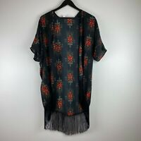 ROMEO & JULIET COUTURE Boho Fringe Kimono Tribal Aztec Medium Red Black
