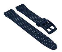 Ersatzband Uhrenarmband Silikon Band dunkelblau/weiß 19mm für Swatch For The Lov