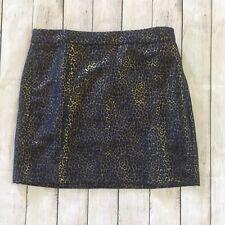 NWT J. Crew Metallic Leopard Print Mini Pencil Skirt Size 10 Jacquard Weave
