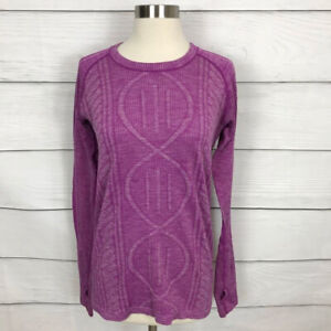 Lululemon Rest Less Pullover Top Heathered Ultra Violet 10 / 12 Long Sleeve