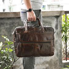 "Men Real Leather Attache Briefcase 15.6"" Laptop Work Office Document Satchel Bag"