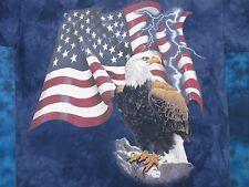 vintage 90s THE MOUNTAIN BALD EAGLE AMERICAN FLAG THUNDER T-Shirt XL nature thin
