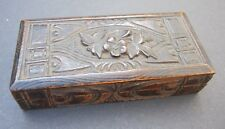 antique wooden carved stamps box Swiss Switzerland Black Forest Wood