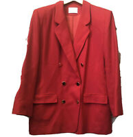 Pendleton Vintage Womens Sz 14 Red Double Breasted Wool Gold Tone Button Blazer