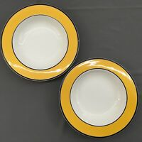 """2 PAGNOSSIN Treviso Bowls White Dark Yellow, BlueTrim 8-5/8"""" Cereal Soup Italy"""