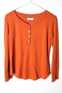 Papaya Womens Knitted Henley Top - Orange - Size 12  (V-C3)