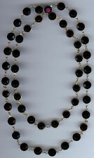 VINTAGE BLACK BEZEL SET SWAROVSKI CRYSTALS NECKLACE