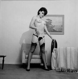 Vintage PINUP Negative & Photo 1960s SEXY BRUNETTE Nylons (Nudes)
