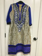 Women Indian anarkali dress with leggings and duppata baige and blue