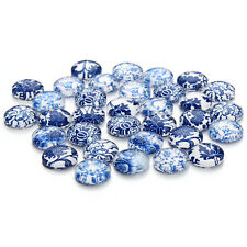 30PCS 12MM Mixed Blue and white Porcelain Pattern Cabochons Flat Back Dome Cameo