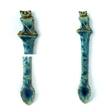 ANCIENT FAIENCE ANTIQUE EGYPTIAN STONE STATUE OF OWEL SPOON GLAZED AMULET 930 BC