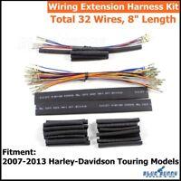 "Black 8"" Handlebar Wiring Extension Harness For Harley Street Tri-Glide 2007-13"