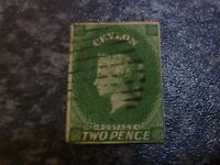 CEYLON POSTAGE STAMP SG3 TWO PENCE IMPERF GREEN 4 MARGIN VERY FINE USED