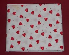 metre of cotton poplin with red hearts with white spots on white with red spots