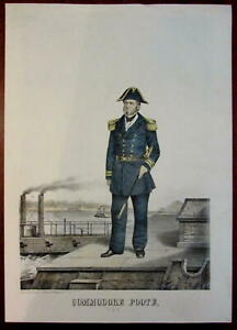 Commodore Andrew Hull Foote 1865 US Navy Ehgott Forbriger color litho portrait
