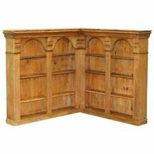 STUNNING VINTAGE CIRCA 1950'S SOLID ENGLISH PINE CORNER BOOKCASE ORNATELY CARVED