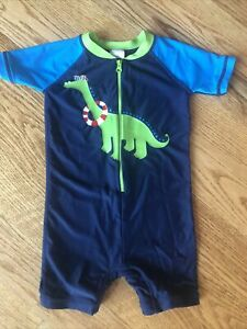 Hanna Andersson Swim Suit Rash Guard one piece, size 80 (24 month) dinosaur