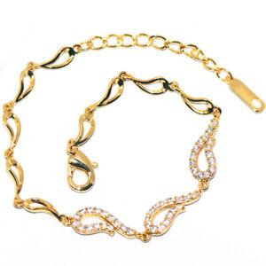 Womens Girls Bracelet Gold Link Chain Bracelet Crystal Jewelry 18K Gold Filled