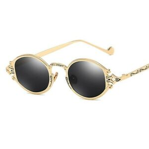 Gothic Small Oval Punk Sunglasses Retro Metal Steampunk Glasses Unisex Accessory