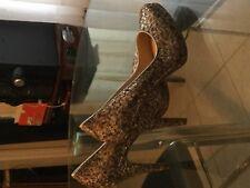 Nine West ROCHA Stilletos Platform Heels Sparkle GLITTER Silver Gold Bronze Sz 8