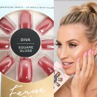 Ferne McCann 24 Artificial False Nails Red Glossy Square Diva Party Christmas